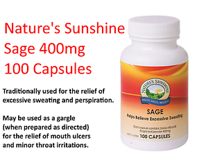Details about NATURES SUNSHINE Sage 400mg 100 Capsules