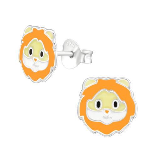 925 Sterling Silver Cute Lion Face Animal Kids Girl Stud Earrings