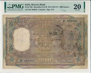 Reserve-Bank-India-1000-Rupees-ND-1954-57-Calcutta-Rare-type-PMG-20
