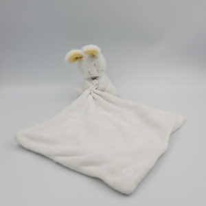 Doudou lapin blanc jaune gris mouchoir SERGENT MAJOR - Lapin Mouchoir