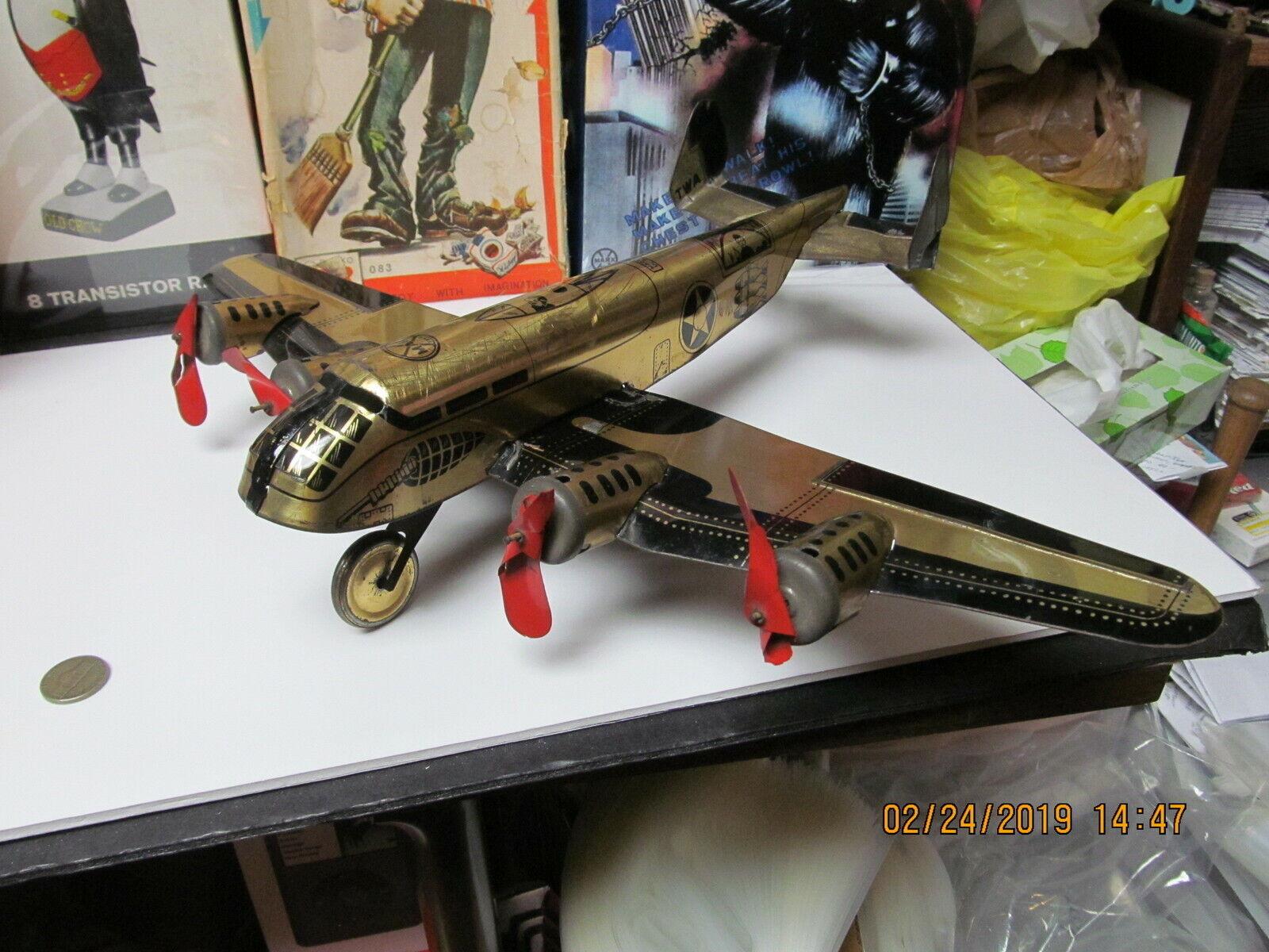 MARX TWA ARMY MILITARY MILITARY MILITARY WIND UP BOMBER goldEN AEROPLANE AIRPLANE 30s-40s 18  WORK 1a99ea