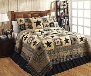 COLONIAL-STAR-BLACK-3pc-King-Quilt-Set-Patchwork-Primitive-Farmhouse-Cabin-Plaid