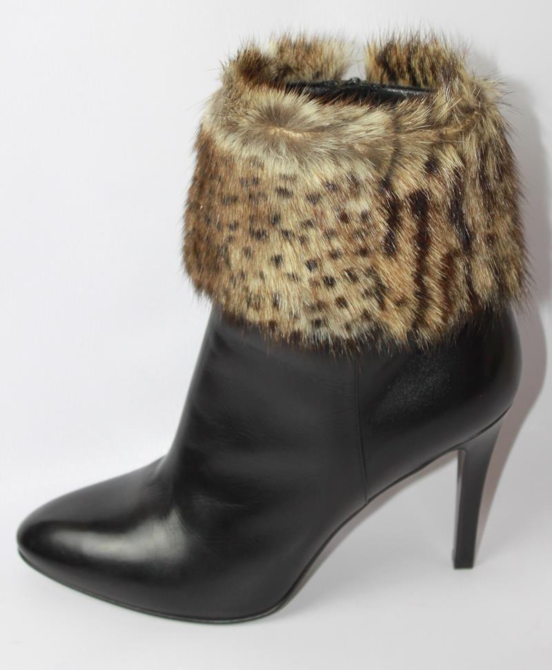 AUTH $1495 YSL Laurent Saint Laurent YSL Debbie Fur High Heel Black Leather Boot 37 bedcee