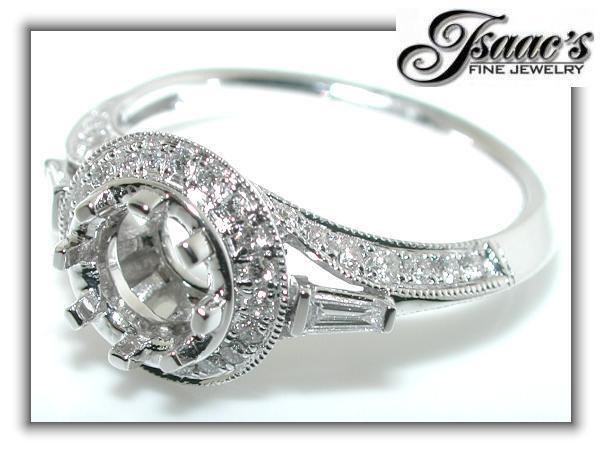 .75 Ct DIAMOND ANTIQUE RING Setting MOUNTING FOR ROUND
