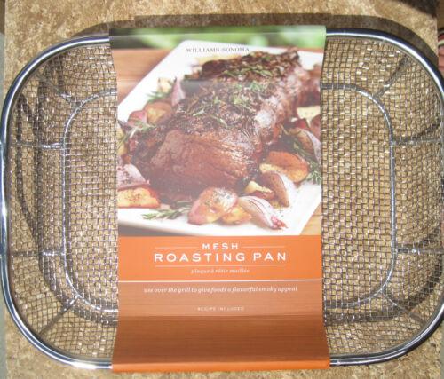 WILLIAMS SONOMA ~ MESH ROASTING PAN ~ BBQ ~ STEEL GRILL ROASTER ~ NEW