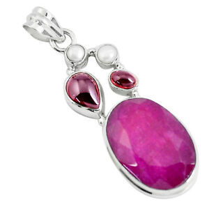 23-68cts-Natural-Red-Ruby-Garnet-925-Sterling-Silver-Pendant-Jewelry-P49399