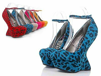 "Fuchsia Leopard Close Toe Platform Pump Booties Womens 5.5"" Wedge Heels Size 9"
