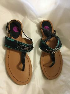 NEW-Coach-Sammy-Women-039-s-Patent-Leather-and-Canvas-Thong-Sandals-8-5