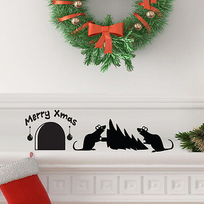 Christmas Tree Mouse hole Wall Art Vinyl Decal Sticker Mural Party decoration