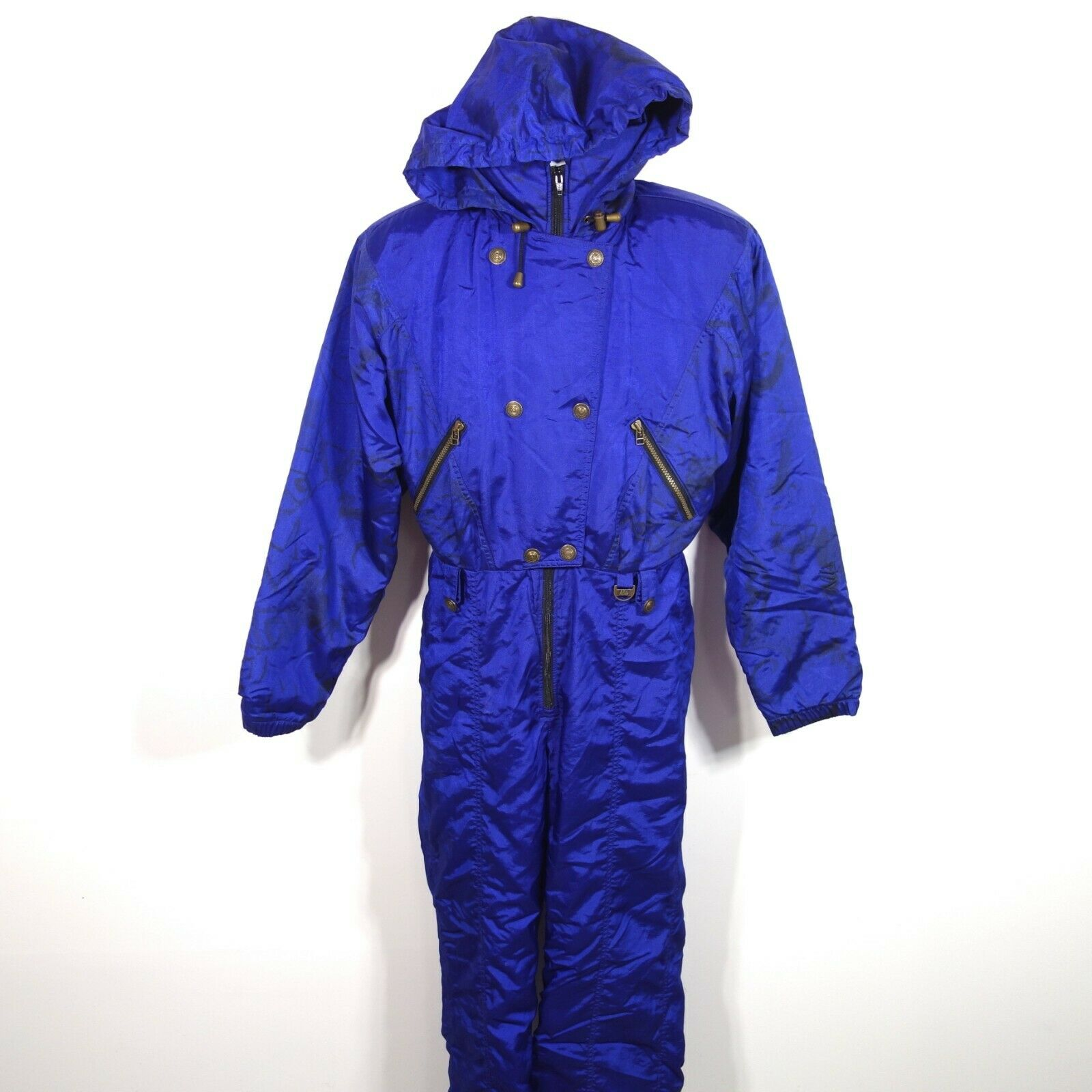 Vtg Nils Skiwear Snowsuit One Piece Jumper Women's 10 Made in USA Nylon Poly
