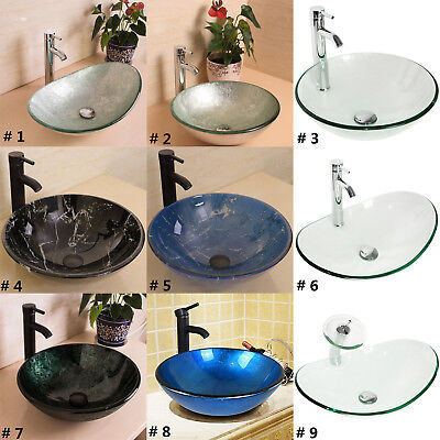 Bathroom Tempered Glass Vessel Sink Bowl Faucet Drain Combo Round Oval Artistic Ebay