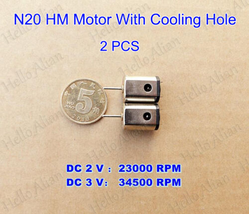 2PCS N20 Motor DC3V 34500RPM High Speed Strong Magnetic HM Motor for RC Aircraft