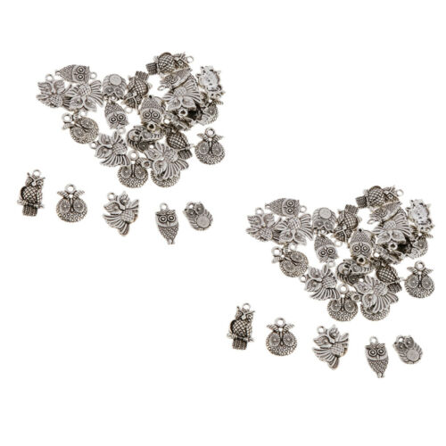 60pcs Antique Silver Jewelry Making Charms Findings Owl Charms Pendent Bulk