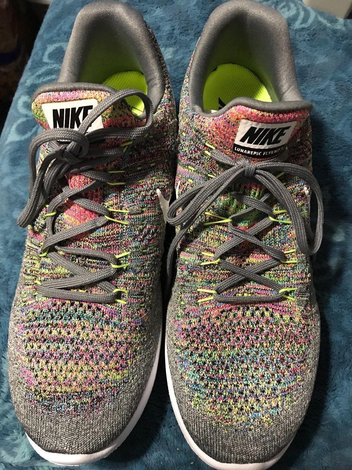 Nike Lunarlon  Flyknit Grey Volt Running Shoes sz 10 ~ VT2SS