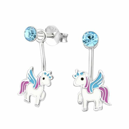 Stunning Sterling Silver Unicorn Dangle Drop Behind Earrings Boxed