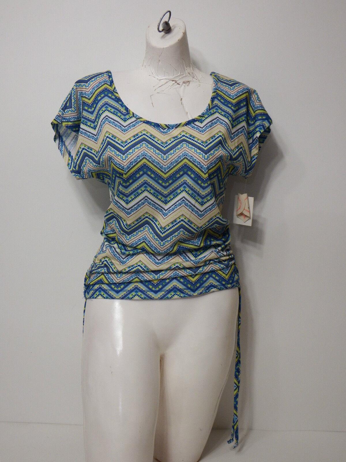 shirt Top Self Esteem Small Cap Sleeve Criss Cross Open Back Scrunch Sides 5
