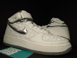 Details about 2006 Nike Air Force 1 Mid WHITE METALLIC SILVER GREY WOVEN 308915 101 Sz 6 4.5
