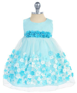 dfe2c5d2f Aqua Blue Mesh Easter Dress Taffeta Flowers Baby 3 Months to Girls ...