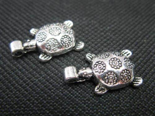 2 Anhänger Schildkröte ca.20 mm silber Perlen neu 6901
