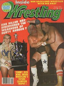 Eb1022 Wildfire Tommy Rich Autographed Wrestling Magazine Wcoa