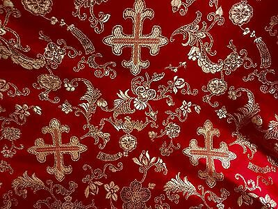 "RED/GOLD METALLIC  CHURCH BROCADE FABRIC 60"" WIDE 1 YARD"