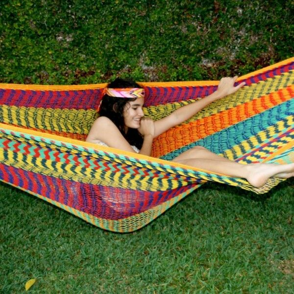 "Beautiful large handmade Mexican ""double knit"" cotton hammock"