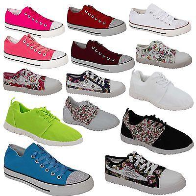 Nuevas señoras para mujer Chicas Planas Con Cordones Plimsolls Bombas De Lona Zapatillas Zapatos Talla
