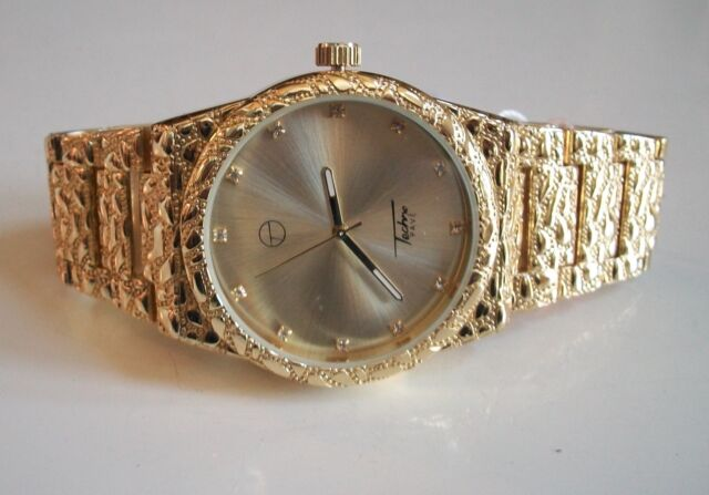 Mens Techno Pave Gold Finish Black Iced Dial Full Nugget Style