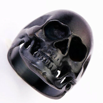 316L Stainless Steel Hell Death Skull Black Skull Head Ring Biker US Size 7-14