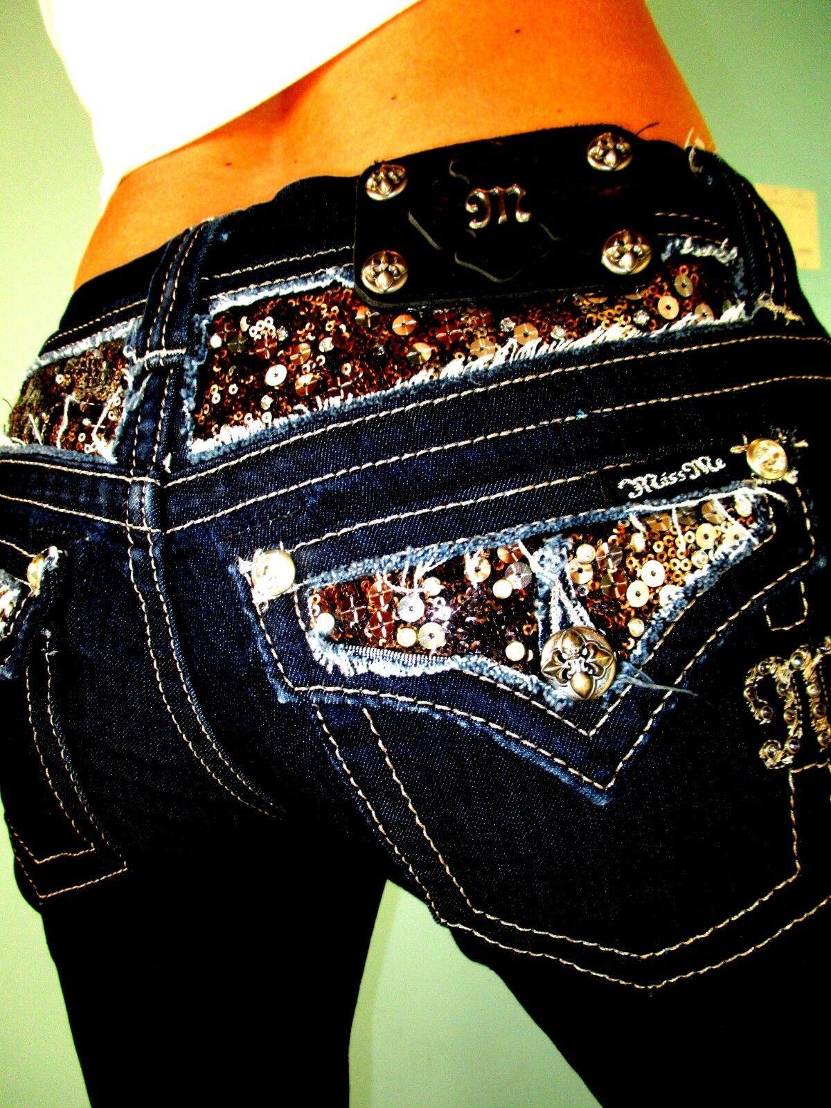 Schnalle Miss Me Easy Fit Stiefel Cut Verziert Joch Klappe Stretch Jeans 29 X 31