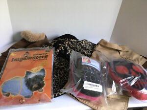 Lot-Of-M-Dog-Coats-Costume-Toys-Issac-Mizrahi-Raincoat-Leopard-Coat-Corduroy