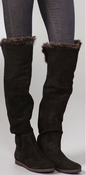 SAM EDELMAN ORLANDO nero SUEDE FAUX FUR CUFF OVER THE KNEE FLAT stivali 6, 6.5
