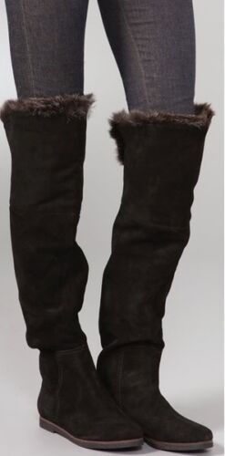 SAM EDELMAN ORLANDO BLACK SUEDE FAUX FUR CUFF OVER THE KNEE FLAT BOOTS 6 6.5