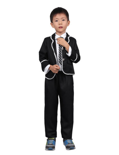 Kids Boys Girls School Uniform Suit Coat Shirt Tie Pants//Skirt Outfit 4 pcs Set