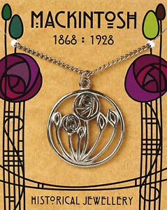 Mackintosh-designed-Circular-Rose-Pendant-on-silver-chain-with-folder-MACCRP