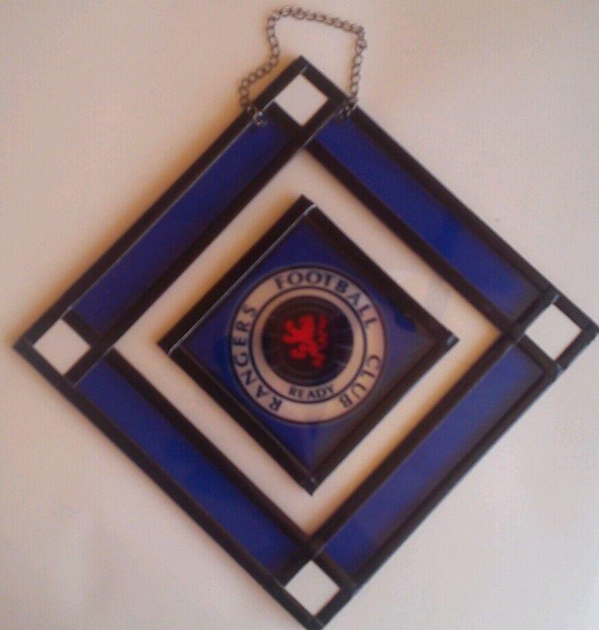 Rangers F.C . birthday, gift set Glass Hanging  Lantern  and leather keyring