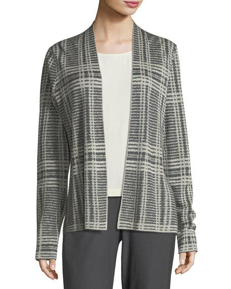 NEW Eileen Fisher Sleek Printed Tencel & Merino Shaped Cardigan, Charcoal - XL