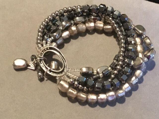 BEST SELLER  SILVER Magnetic Bracelet single strand with silver hematite twist beads.