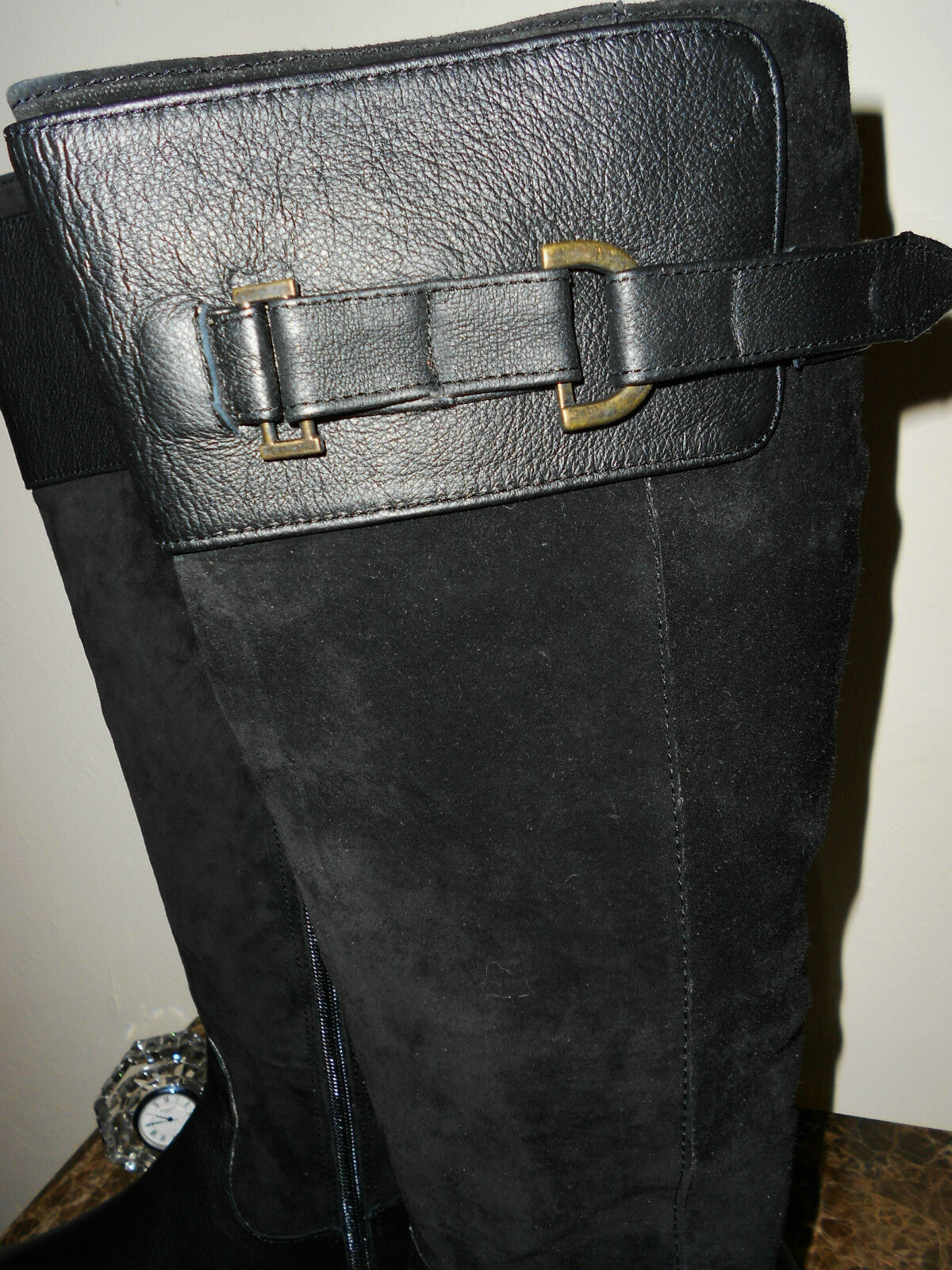 AMPLE noir LEATHER & SUEDE EXPENSIVE 11W FULL LENGTH bottes NWT SOFT INSOLE