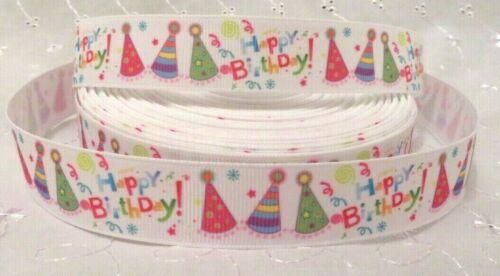 1m HAPPY BIRTHDAY DESIGNS GROSGRAIN RIBBON 22//25mm HAIR CRAFTS DUMMY CLIPS CAKE