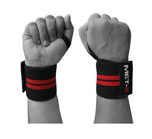 MET-X-Peso-Sollevamento-Polso-Wraps-Bandage-cinghie-di-supporto-a-Mano-Palestra-cotone-Controvento