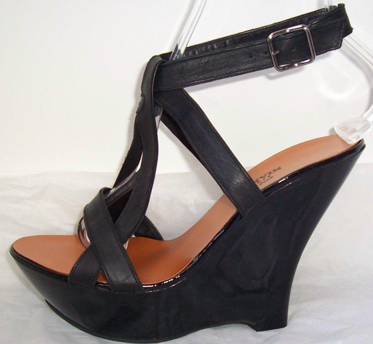Lanvin Sandalias de de de Cuña con Plataforma de patente de cuero negro zapatos 37 7  ganancia cero