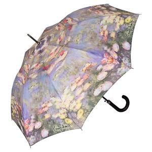 Regenschirm-Automatik-Stockschirm-Damen-Blumen-Kunst-Motiv-Claude-Monet-Seerosen