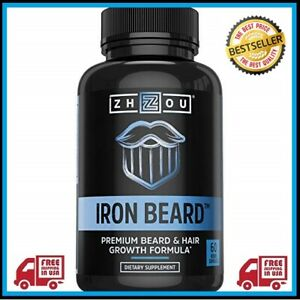 Details about Zhou Nutrition Iron Beard, Beard Growth Vitamin Supplement  for Men, 60 Capsules