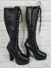 PLEASER Chunky Heel Platform Lace Up Knee High Boots Fetish Dom Stage Dance Wear