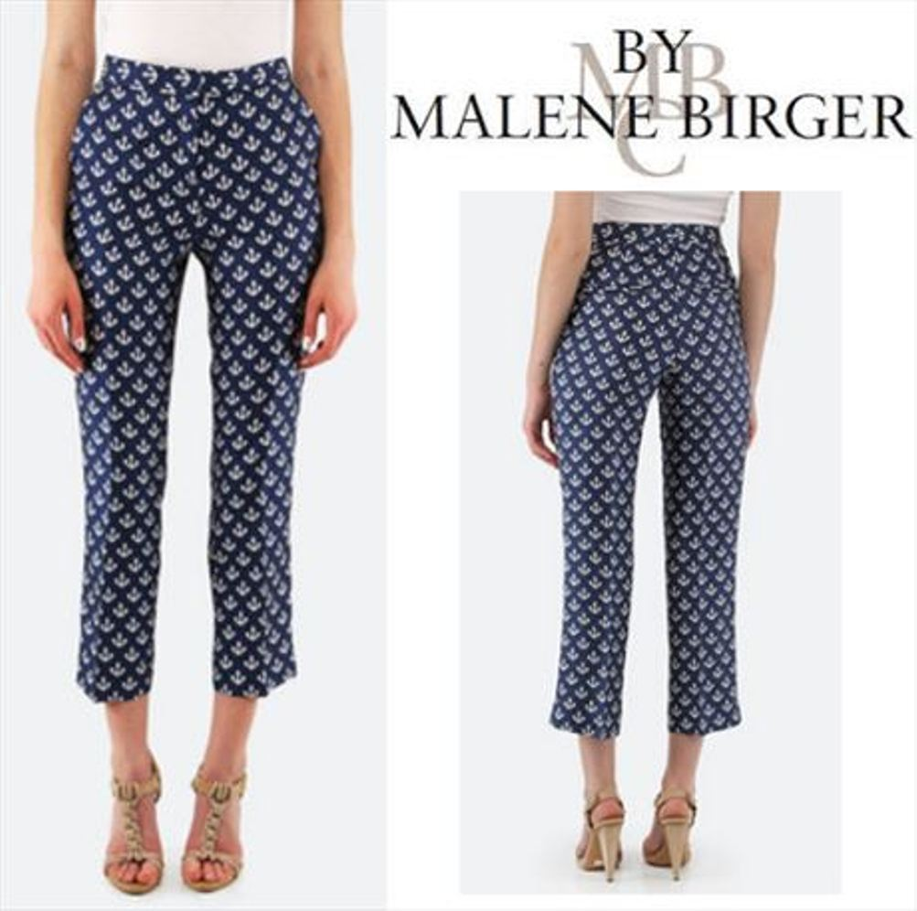 375 GERRUDI ANCHOR PANTS Capris by Malene Birger bluee Silk Size  32 XS NWT