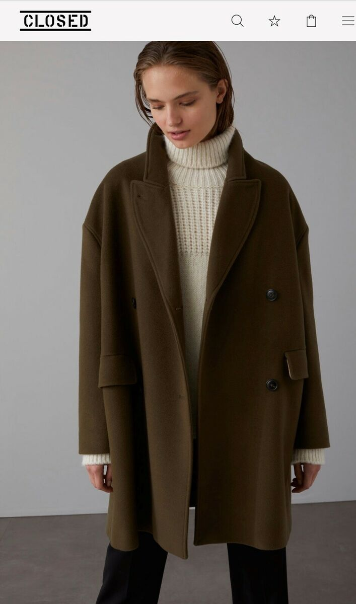 Frakke, str. 36, Closed, Søgræs, Virgin uld og cashmere
