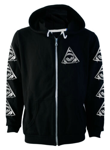 Darkside Black All Seeing Eye Occult Zip Up Thick Hoodie Hooded Top S M L Xl 2XL