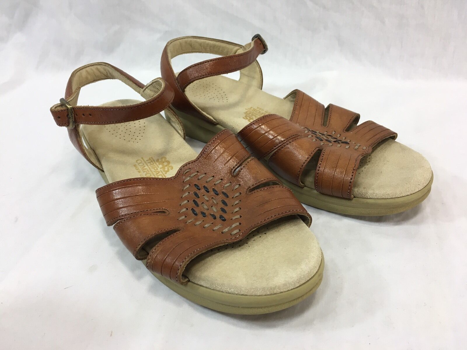 SAS HUARACHE LEATHER LEATHER LEATHER Womens 8 Sandals shoes BROWN TRIPAD COMFORT WOVEN USA 64762a