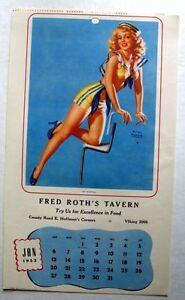 January 1952 Earl Moran Pin Up Calendar See Worthy